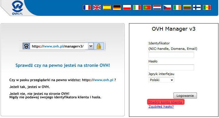 Stwórz konto klienta w ovh.pl